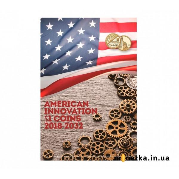 Капсульная альбом для монет серии «Изобретения Америки», в футляре