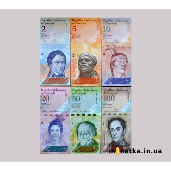 Венесуэла Набор банкнот (6 шт) номиналы 2 5 10 20 50 100 Боливар 2013 - 2015