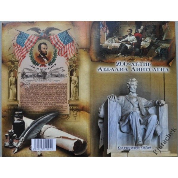 Набор монет 1 цент США жизнь Авраама Линкольна в альбоме Линкольн