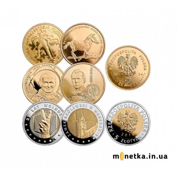 Польша 2 и 5 злотых 2014, набор монет - Полный годовой набор, 6 шт