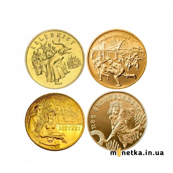 Польша 2 злотых, набор монет «Святая» 4 шт