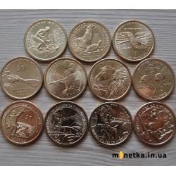 Набор 1 доллар США Индианка Сакагавея, коренные американцы, состояние из ролла 11 штук