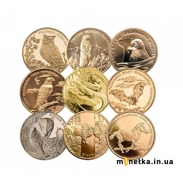 Польша 2 злотых, набор монет «Животные» 2005-2014