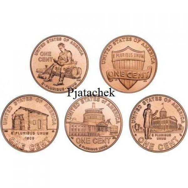 Набор 1 цент США серия Жизнь Авраама Линкольна Линкольн 5 монет одним лотом