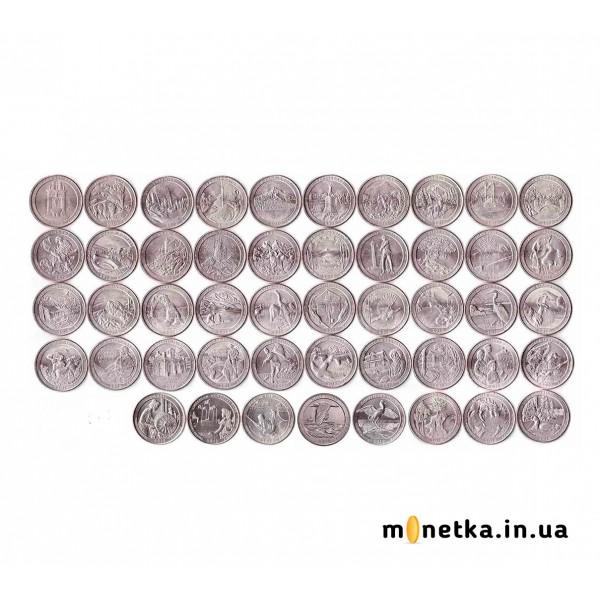 """Набор монет """"Парки США"""" 25 центов - 48 шт, 2010-2019"""