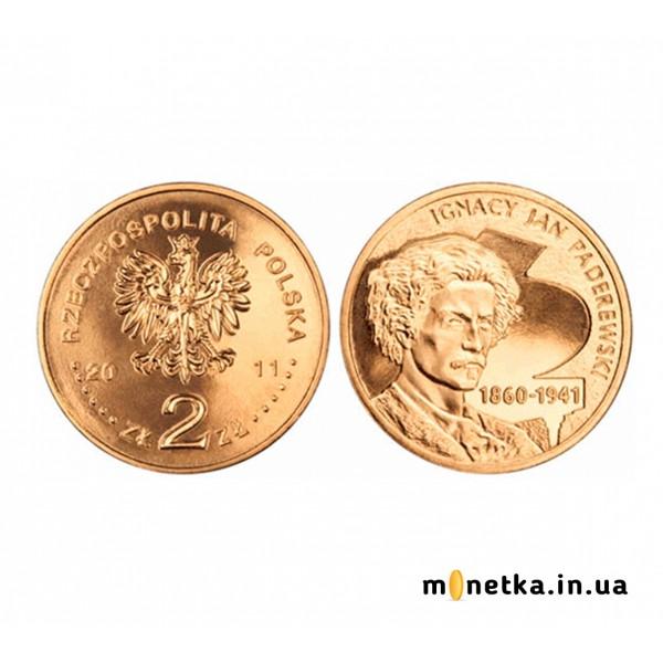 """Польша 2 злотых 2011, """"Игнаций Ян Падеревский (музыка)"""""""