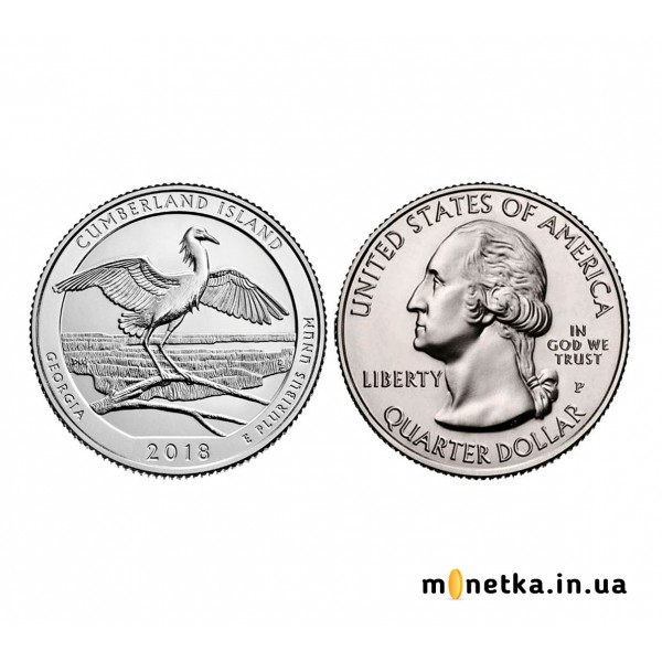 25 центов 44 парк США Национальное побережье острова Кумберленд