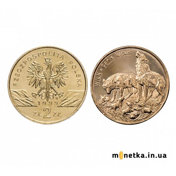 """Польша 2 злотых 1999, """"Фауна - волк"""""""