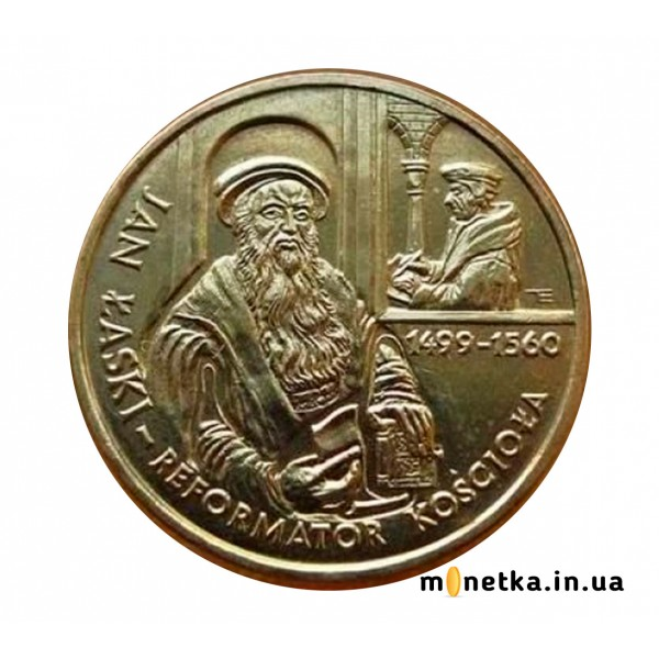 Польша 2 злотых 1999 Реформации, канцлер Ян Лаский, Эразм