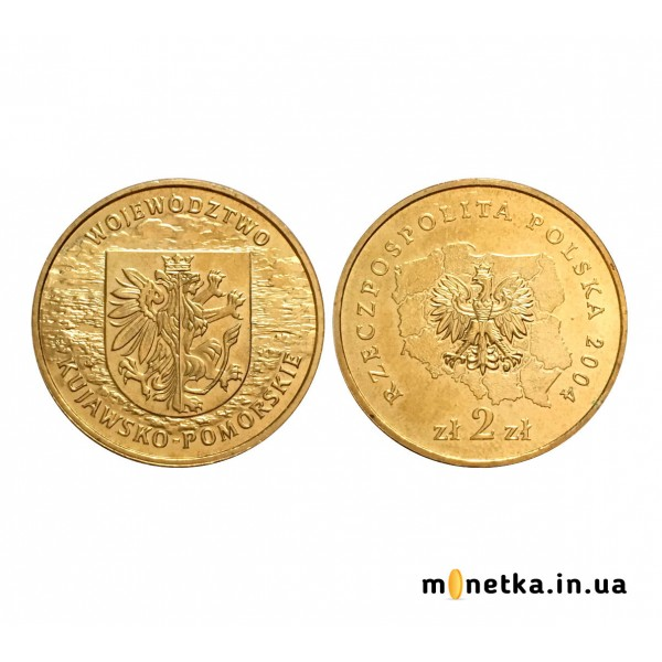Редкая монета 2 злотых, 2004, Регионы Польши - Куявско-Поморское воеводство