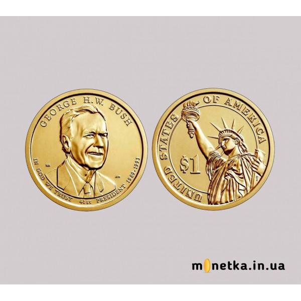 США 1 доллар 2020 год unc президент №41 Джордж Буш-старший арти