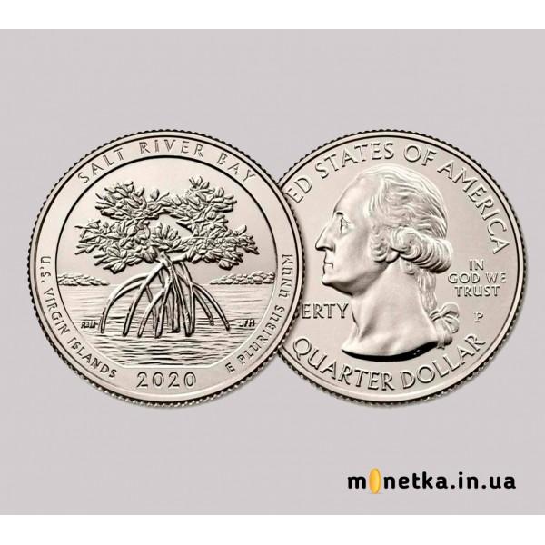 Монета США 25 центов 2020 прекрасная Америка (парки), Национальный Исторический Заповедник «Солт-Ривер-Бей»