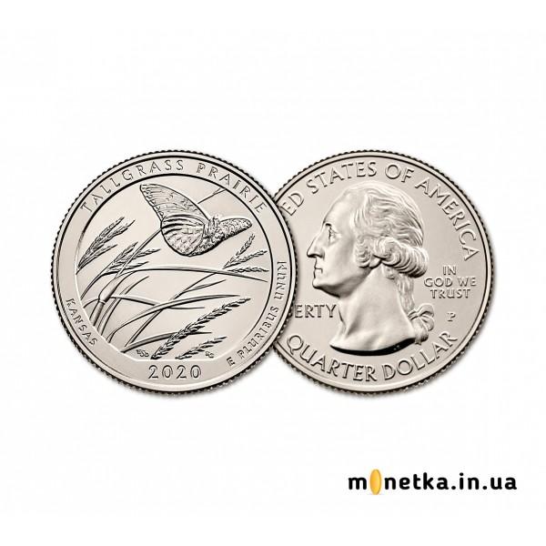 США 25 центов 2020 год unc №55 прекрасная Америка, Канзас Толлграсс-Прери