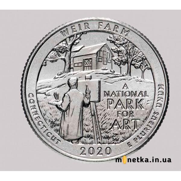 США 25 центов 2020 52-й Национальный парк Вейр Фарм, Коннектикут