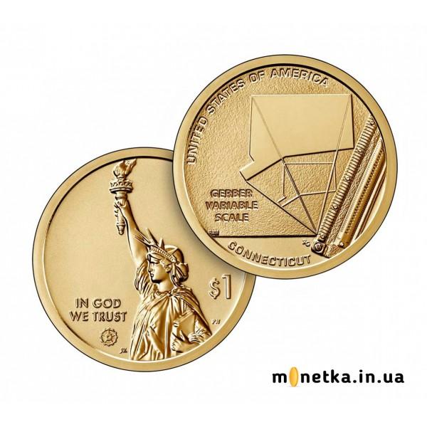 США 1 доллар 2020, Переменчивая шкала гербера, Коннектикут Американские инновации