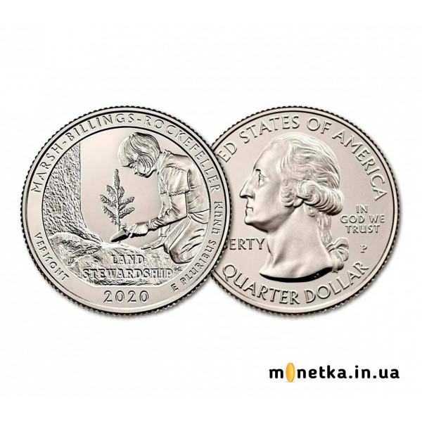 США 25 центов 2020, прекрасная Америка (ПАРКИ), Нац Парк Рокфеллера, Вермонт