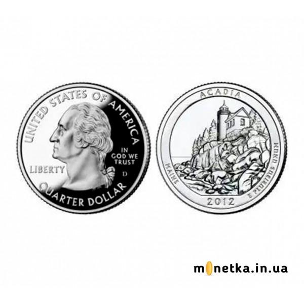 США 25 центов (квотер) 2012 - Акадию (13-й парк)