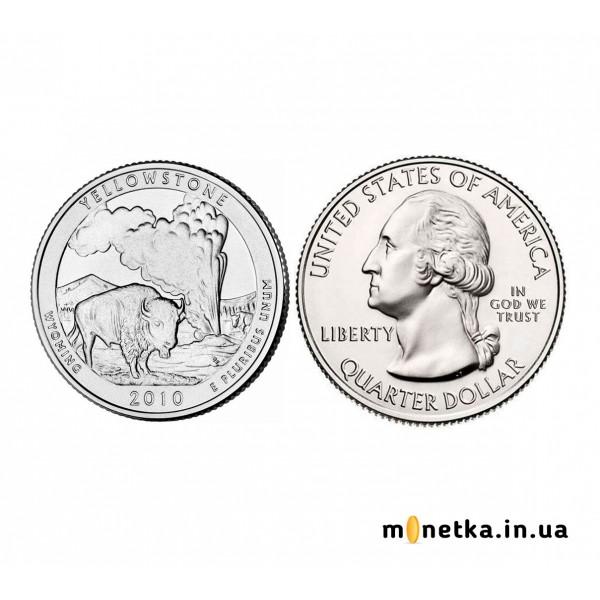 США 25 центов 2010, 2 Парк-Йеллоустонский, Национальный парк