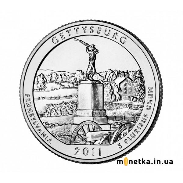США 25 центов 2011, 6 парк, Национальный парк, Геттисберге, штат Пенсильвания