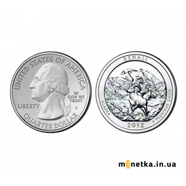 США 25 центов 2012, 15 парк, Национальный парк Денали, штат Аляска