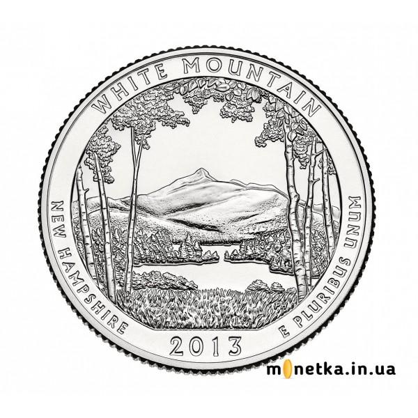 США 25 центов 2013, 16 парк, Национальный лес Белые Горы, штат Нью-Гэмпшир