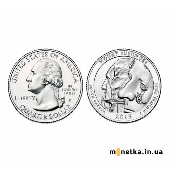 США 25 центов 2013, 20 парк, Национальный мемориал Маунт-Рашмор, штате Южная Дакота
