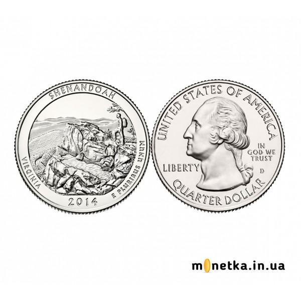 США 25 центов 2014, 22 парк, Национальный парк Шенандоа, штат Вирджиния