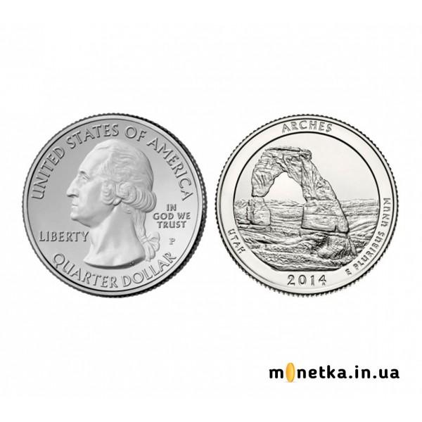 США 25 центов 2014, 23 парк, Национальный парк Арчес, штат Юта