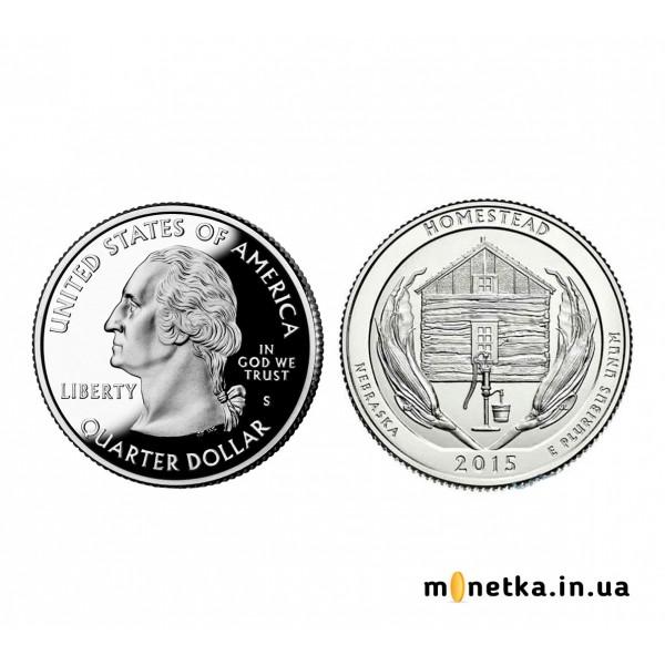 США 25 центов 2015, 26 парк Национальный Монумент Гомстедах, Небраска