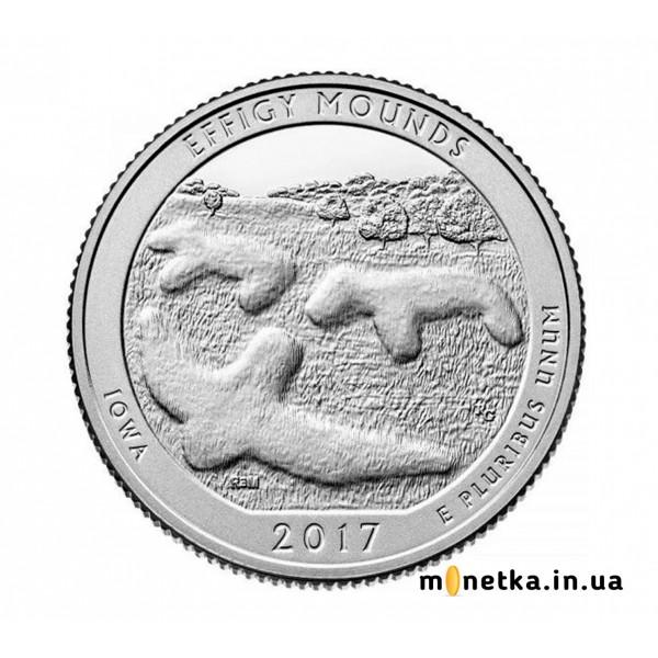 США 25 центов 2017, 36 парк Национальный парк Эффиджы-Маундс, Айова S