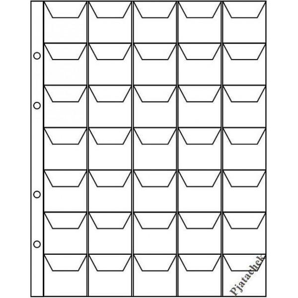 Лист формат Optima Оптима 35 ячеек с карманами 35х35 лист для монет